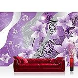 Fototapete 254x184 cm PREMIUM Wand Foto Tapete Wand Bild Papiertapete - Ornamente Tapete Blume Abstrakt lila - no. 1314