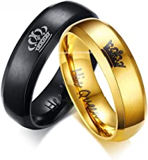 Yellow Chimes His or Hers Matching Set His Queen Her King Titanium Stainless Steel Couple Bracelet Rings for Girls & Boys (2 Pcs)