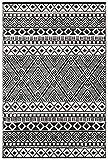 Grün Deko-leichte Outdoor wendbar Kunststoff Relic plastic Teppich (150 x 240 cm, Schwarz / Weiß)