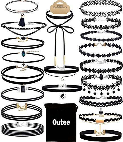 Outee 20 PCS Black Charm Choker Set Velvet Choker Necklaces for Women Girls