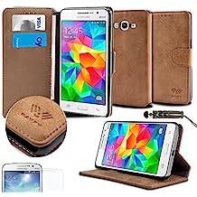 Savfy - Funda para Samsung Galaxy Grand Prime SM-G530FZ (protector de pantalla, lápiz táctil), color marrón