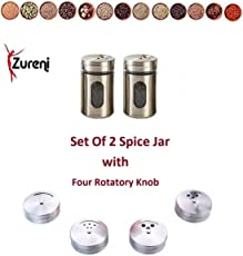 Zureni Round Stainless Steel Spice Containers with Shaker Lids for Salt, Pepper, Herbs or Seasonings - Seasoning Jar with 4 Different Knobs for Dining Table, Kitchen Counters and Racks
