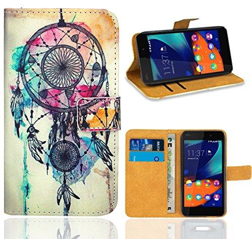 FoneExpert® Wiko Rainbow Up Handy Tasche, Wallet Case Flip Cover Hüllen Etui Ledertasche Lederhülle Premium Schutzhülle für Wiko Rainbow Up