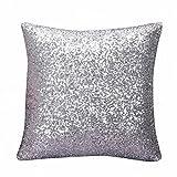 Kopfkissenbezug Pillowcase Einfarbig Glitter Pailletten Dekokissen Fall Cafe Home Decor Kissenbezüge 40 x 40 LuckyGirls (Silber)