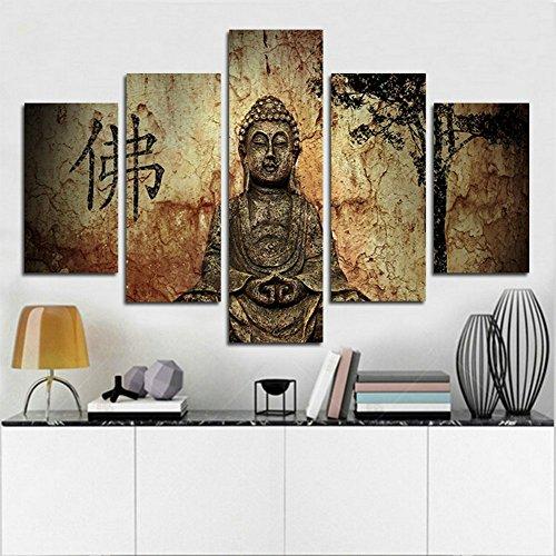 H.COZY 5 Pannello di sintesi stampato Buddha tela arte della parete decorazione immagine del Buddha Buddha sul soggiorno (Senza telaio) Senza cornice far39 50 pollici x30 pollici