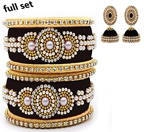 ce439a1fbb9 Hot Selling Silk thread Black Color Pearls Bangles And Earrings Jewelry,  Party wear, Bridal