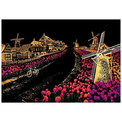 Freude DIY handgefertigt Geburtstag Karte City Night Landschaft Scratch Kunst Malen Papier Colorful Zeichnen Papier mit scratch Pinsel-Set für Freunde als Geschenk 1 Stück Windmühle