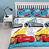 Disney Cars 3 - Parure de lit àmotif imprimé'Lightning' répété, multicolore, housse de couette pour lit 2 places.