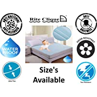 Rite Clique Babycare Cotton Waterproof 3 Feet Wide Mattress Protector Single Bed Size Cover (Blue, 36x78 Inch)