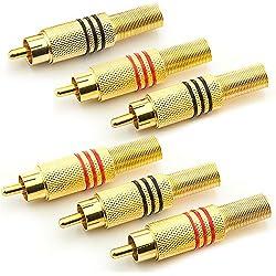 Saxonia 6x Cinch/RCA Mâle droit Connecteur RCA Connecteur audio RCA Extension de fiche RCA de haute qualité pour le soudures (également vissable) contacts plaqués or   3 pièce Rouge + 3 pièce Noir