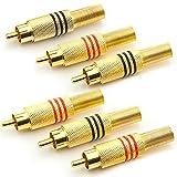 Saxonia 6X Cinch Stecker Audio RCA Verbindungsstück Hochwertige Cinchstecker Verlängerung für Kabel Zum Löten (Auch schraubbar), vergoldete Kontakte (3 Rot + 3 Schwarz)