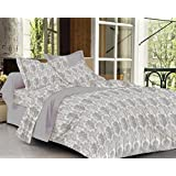 Trance Home Linen 100% Cotton 300TC Premium Printed King Fitted Bed Sheet With 2 Pillow Covers (Grey Floral)
