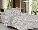 #5: Trance Home Linen 100% Cotton 300TC Premium Printed King Bed sheet with 2 pillow covers (Grey Floral)