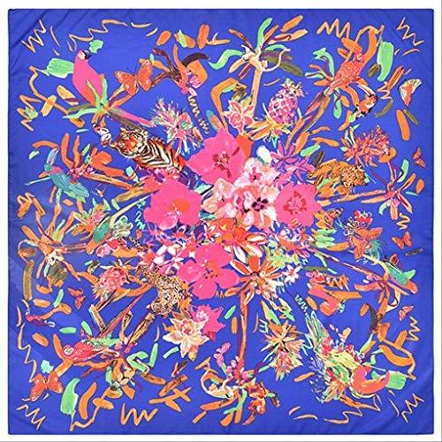 SHZSMHD 130 * 130CM Luxusmarke 100% Twill Silk Woman Scarf Square Scarves Vogel Hommage an den Phönix Silk Scarf & Wraps Veil Blue -