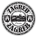 Zagreb City Croatia Grunge Travel Stamp Hochwertigen Auto-Autoaufkleber 12 x 12 cm