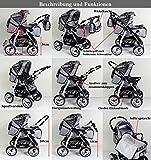 3 in 1 Kombikinderwagen Komplettset VIP – inkl. Kinderwagen, Babyschale und Sportwagen Aufsatz – 1. ALU Hartgummi Bereifung – 19. Schwarz-Weiss - 4