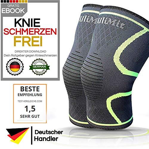 ULIMIT® 2X Kniebandage + KNIESCHMERZENFREI E-Book Download - geeignet bei Knieproblemen gibt sie rutschfesten Halt als Stütze zum Arbeiten, Joggen, Wandern, Laufen und Sport für zunehmendes Wohlsein -