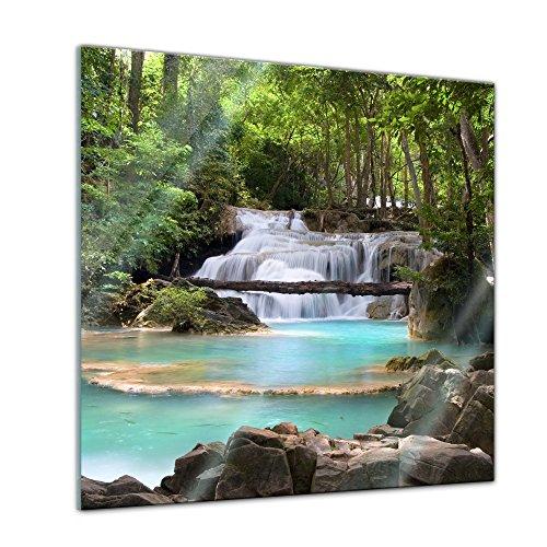 Glasbild - Wasserfall im Wald - 30x30 cm - Deko Glas - Wandbild aus Glas - Bild auf Glas - Moderne Glasbilder - Glasfoto - Echtglas - kein Acryl - Handmade