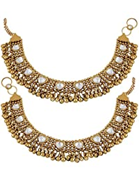 Meenaz Traditional Jewellery Gold Oxodised Chain Kundan Payal Anklets For Women/Anklet For Girls Stylish Party...