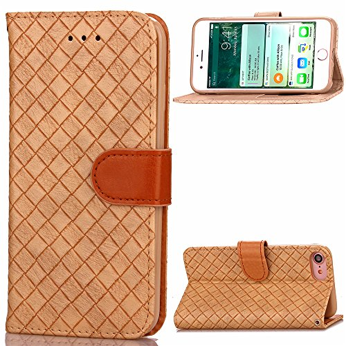 iPhone 7 Hülle, Forhouse [Magnetverschluss][Ultra Slim Fit] Flip Case Waven Pattern PU Leder Brieftasche mit Card Slots Ganzkörperschutz [Flip Stand] Cover für iPhone 7 (Khaki) (Khaki Entspannt Fit)