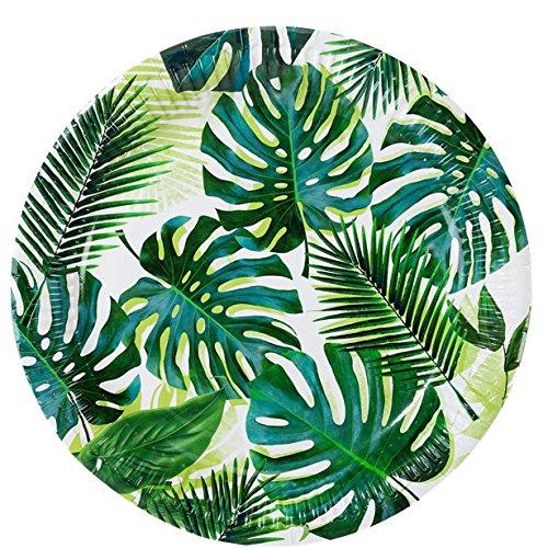 Whity Whiteman Tisch Dekoration große Teller Tropen Dschungel Sommerparty Hawaii Feier 8 Stück, 23 cm, Grün