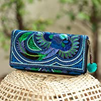 Changnoi Handcrafted Blue Bird Tribal Hmong Embroidered Wallet/Purse with Pom Pom for Women