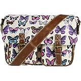 Miss Lulu Canvas Owl, Butterfly, Elephant, Horse, and Oilcloth Cupcake Pattern Design Satchel Saddle Messenger Shoulder Bag