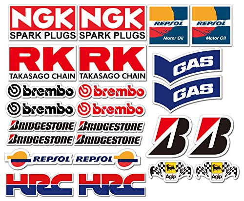 Preisvergleich Produktbild 24 PVC Aufkleber Set Motorsport Rennsport Motorrad Auto Racing Laminiert Sticker MOTO GP Sponsors