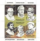 Golf Icônes feuille de timbre pour les collectionneurs avec Lee Trevino, Arnold Palmer, Tom Watson, Seve Ballesteros et autres - 6 timbres neufs