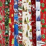 Howaf 10 Blätter Weihnachtspapier, Geschenkpapier, jedes Blatt 74x 51 cm, 10 Weihnachts Motive - Schneemann, Weihnachtsmann, Weihnachtsbaum, Rentier