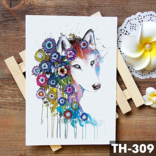 tzxdbh 5Pcs-Einhorn Geometrische Rose Fox Wolf wasserdicht temporäre Tätowierung - Aufkleber Schwan Elk Tiere Tattoos Body Art Tatoo 5Pcs- -