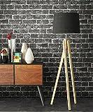 Tapete Stein Vlies in Schwarz | schöne edle Tapete im Steinmauer Design | moderne 3D Optik für Wohnzimmer, Schlafzimmer oder Küche inkl.der NewroomTapezier-Profibroschüre mit Tipps für perfekteWände