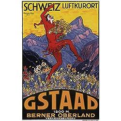 """Póster de esquí Gstaad Vintage de viaje Suiza enmarcado (listo para colgar), clip de marco A3, 40cm x 30cm (15,75""""x 11.81"""")"""
