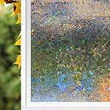 Zindoo 3D hochwertige Premium No-Kleber Fensterfolie Sichtschutzfolie Statisch Folie Selbstklebend Privatleben Frost Glas-Fenster-Film-Aufkleber Anti-UV 45*200cm