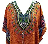 Pal Bro's Store Women's Indian Long Viscose Kaftan with African Print and Dori at Waist (Orange;Free Size)