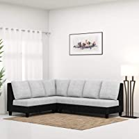 Furny 6 Seater Algeria Fabric L-Shaped Sofa Set for Living Room (Light Grey-Black)