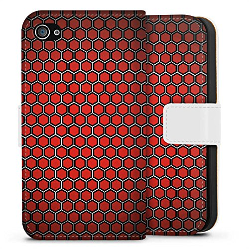 Apple iPhone X Silikon Hülle Case Schutzhülle Red Hexagon Pattern Punkte Muster Look Sideflip Tasche weiß