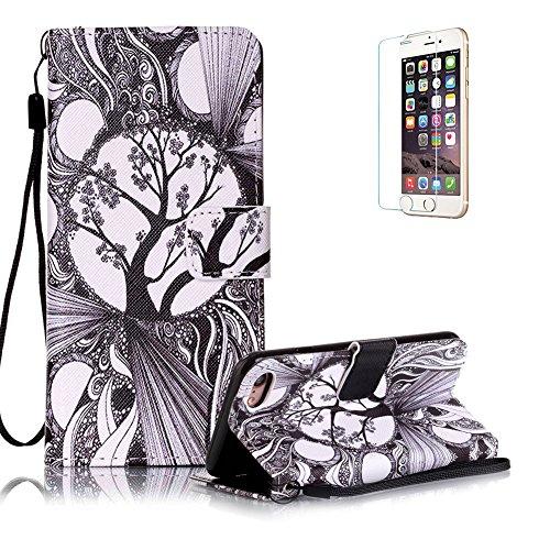 Custodia iphone 7 in Pelle,Funyye Albero Fantasia Elegante Libro Portafoglio