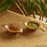 ExclusiveLane Dual-Glazed Studio Pottery Ceramic Chutney Bowl Set, 40 Ml, Set Of 2, Mustard Yellow And Off White