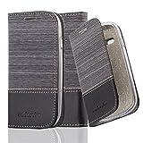 Cadorabo Hülle für Samsung Galaxy S3 Mini - Hülle in GRAU SCHWARZ – Handyhülle mit Standfunktion und Kartenfach im Stoff Design - Case Cover Schutzhülle Etui Tasche Book