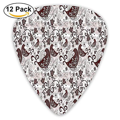 Arabesque Oriental Bird Figures With Floral Heart Forms With Lines Guitar Picks 12/Pack -