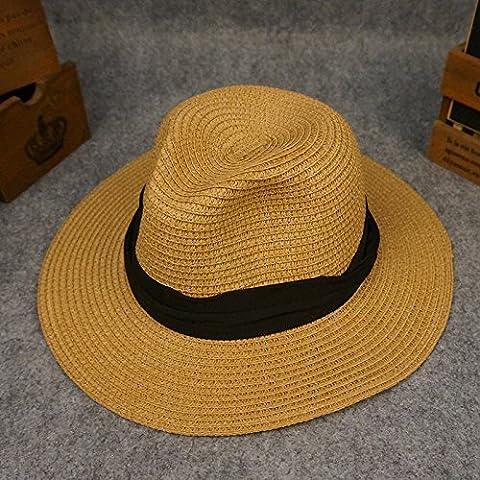 nsxbzz *Cap children summer sun UV Foldable awnings large Sun Ocean Beach Tour Visor straw hat code are black belt plate - Coffee
