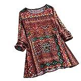 SEWORLD 2018 Damen Mode Sommer Herbst Frauen Strand Beiläufige Schal Blumen Bedruckte Langarm Tunika Swing Tops Shirt Bluse(Rot,EU-48/CN-XL)