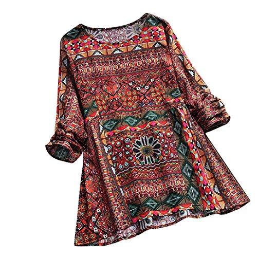 SEWORLD 2018 Damen Mode Sommer Herbst Frauen Strand Beiläufige Schal Blumen Bedruckte Langarm Tunika Swing Tops Shirt Bluse(Rot,EU-44/CN-M) -