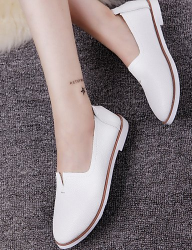 ZQ gyht Scarpe Donna - Mocassini - Tempo libero / Casual - Punta arrotondata - Piatto - Finta pelle - Nero / Bianco , white-us8 / eu39 / uk6 / cn39 , white-us8 / eu39 / uk6 / cn39 white-us7.5 / eu38 / uk5.5 / cn38