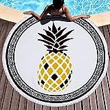 Lolyze Serviette de plage ronde en tissu éponge ultra-doux et ultra-absorbant avec motif tropical et pompons, 150cm, Ananas, 59 inch