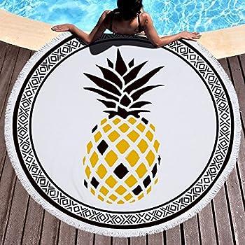 93081fb671551 Lolyze Serviette de plage ronde en tissu éponge ultra-doux et ultra-absorbant  avec motif tropical et pompons, 150 cm, Ananas, 59 inch