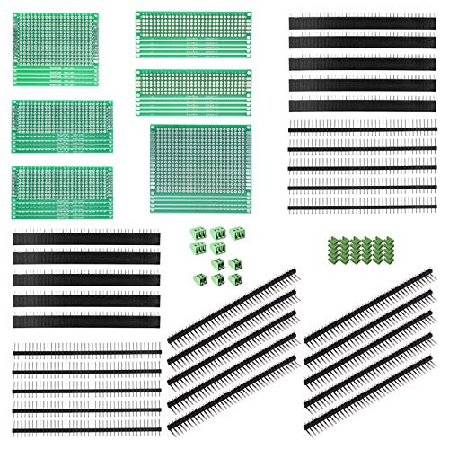 ALLDREI 100Stk leiterplatte Kit - 30 PCB Universal Board + 30 Kopfleiste + 10 Screw Terminal + 30 Jumper Caps