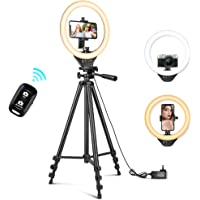 10'' Ring Light with 50'' Extendable Tripod Stand, Sensyne LED Circle Lights with Phone Holder for Live Stream/Makeup…