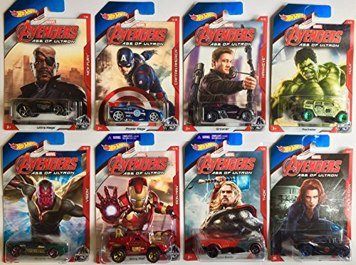 Bundle - 8 Items: Marvel Avengers Age of Ultron Hot Wheels Set by Marvel